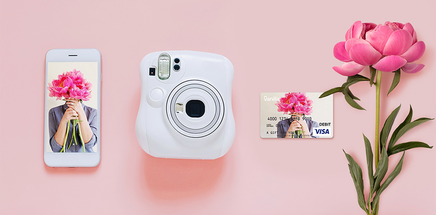 Gift Card with flower, camera, iphone